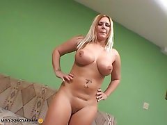 Milf sucks long cock on knees